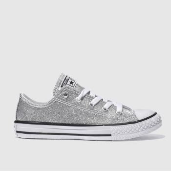 CONVERSE SILVER ALL STAR OX GLITTER TRAINERS JUNIOR