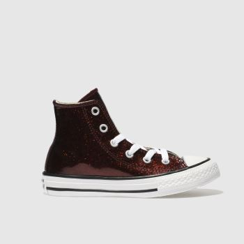 Converse Burgundy All Star Hi Glitter Girls Junior