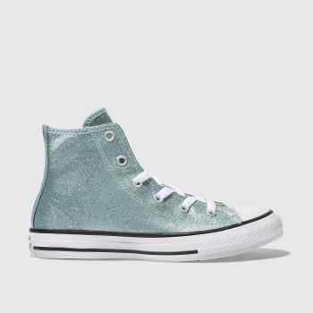 CONVERSE PALE BLUE ALL STAR HI GLITTER TRAINERS JUNIOR