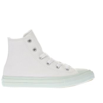 CONVERSE WHITE & GREEN CHUCK TAYLOR II HI GIRLS JUNIOR TRAINERS