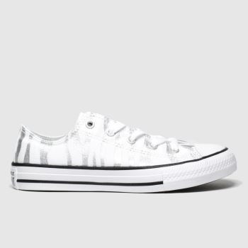 Converse White & Silver All Star Zebra Lo Girls Junior#