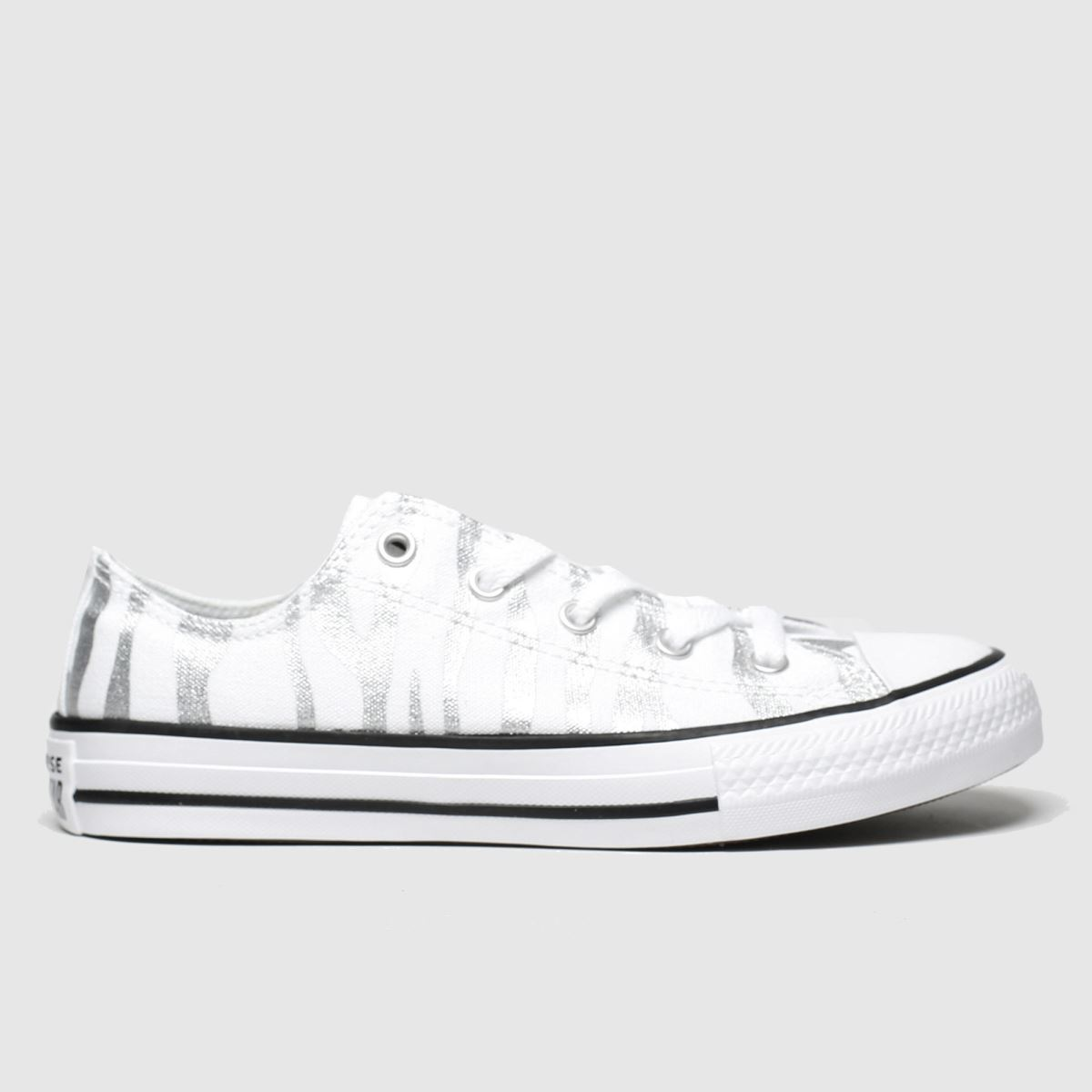 Girls white & silver converse all star zebra lo trainers | schuh