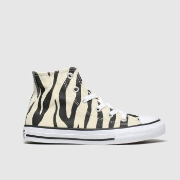 Converse Black & White All Star Zebra Print Hi Girls Junior