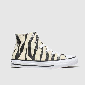 converse black & white all star zebra print hi trainers junior