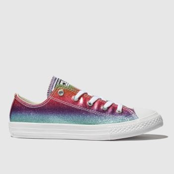 Converse Pink & Blue All Star Lo Glitter Rainbow Girls Junior