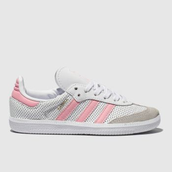 adidas white & pink samba trainers junior