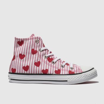 converse white & pink chuck taylor all star hi trainers junior