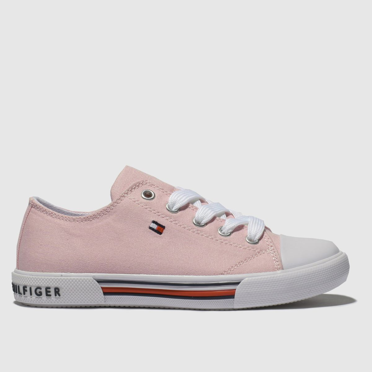 Tommy Hilfiger Pale Pink Lace Up Sneaker Trainers Junior