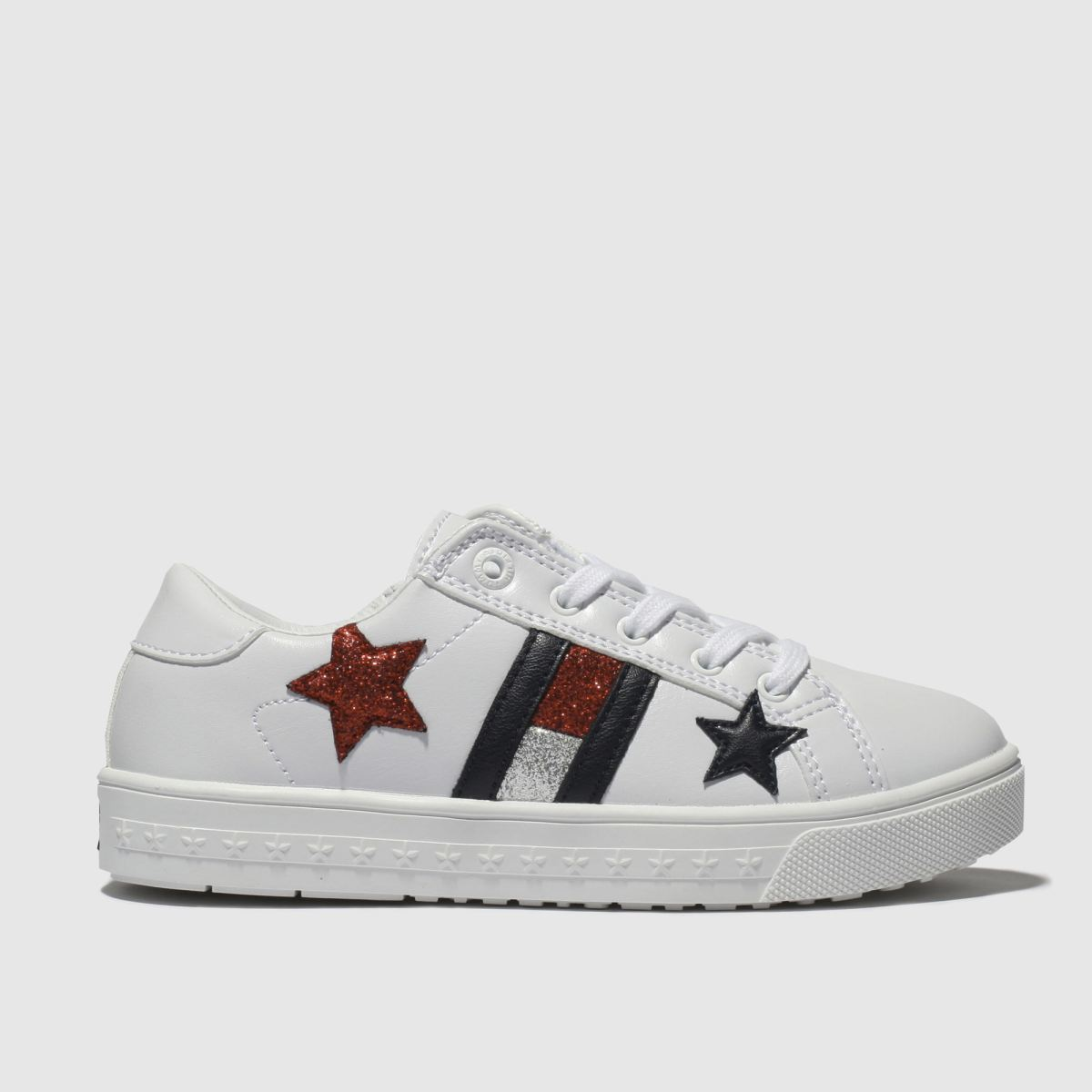 Tommy Hilfiger White & Navy Star Lace Up Sneaker Trainers Junior