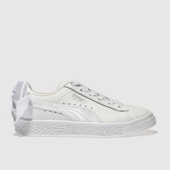 Puma White Basket Bow Girls Junior