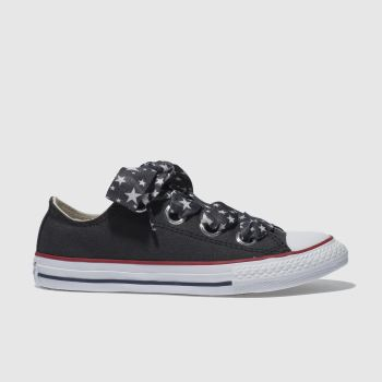 CONVERSE BLACK ALL STAR BIG EYELETS LO TRAINERS JUNIOR