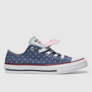 Converse Navy All Star Double Tongue Lo Girls Junior
