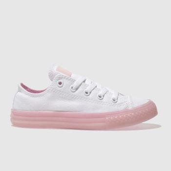 CONVERSE WHITE & PINK CHUCK TAYLOR ALL STAR LO TRAINERS JUNIOR