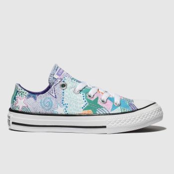 Converse Purple & Green Chuck Taylor All Star Lo Girls Junior