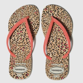 Havaianas Black & Peach Slim Animal Girls Junior