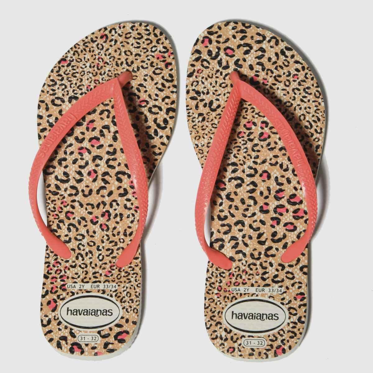 Havaianas Black & Peach Slim Animal Sandals Junior