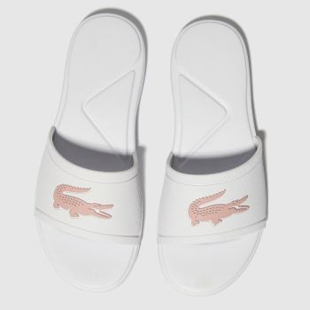 Lacoste White & Pink L.30 Slide Girls Junior