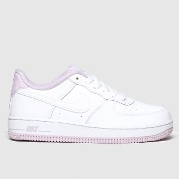 nike white & pink air force 1 trainers junior