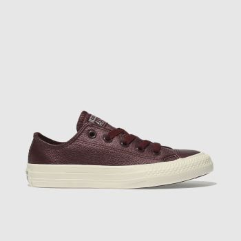 Converse Burgundy All Star Lo Leather Girls Junior
