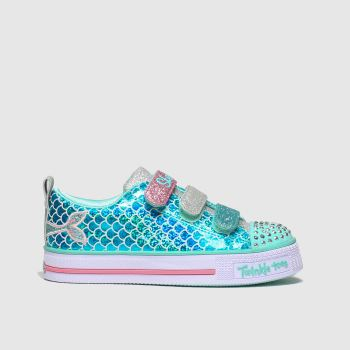 skechers turquoise twinkle lite trainers junior