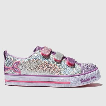 Skechers Purple & Silver Twinkle Lite Girls Junior