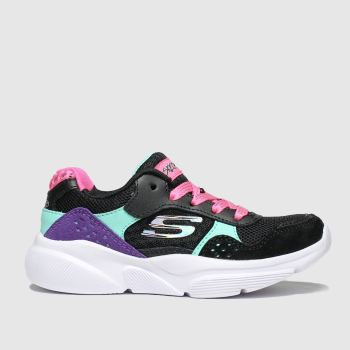skechers black & pink meridian charted trainers junior