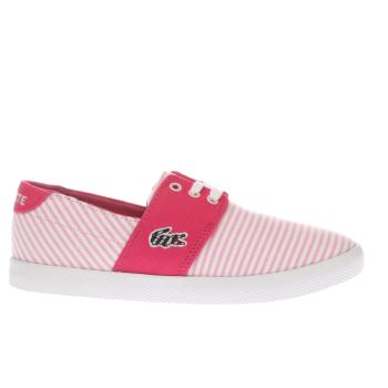 LACOSTE WHITE & PINK FAIRCHAMPE GIRLS JUNIOR TRAINERS