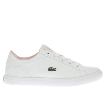 LACOSTE WHITE & PINK LEROND GIRLS JUNIOR TRAINERS