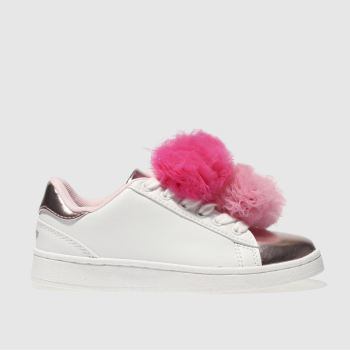 LELLI KELLY  WHITE & PINK PON PON SNEAKER GIRLS JUNIOR TRAINERS