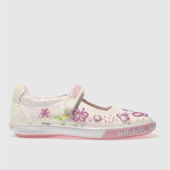 LELLI KELLY  WHITE & PINK GLITTER BUTTERFLY DOLLY GIRLS JUNIOR SHOES