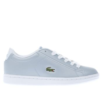 LACOSTE PALE BLUE CARNABY EVO GIRLS JUNIOR TRAINERS