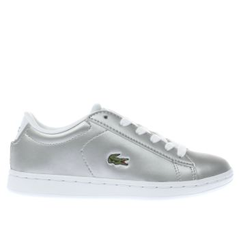 LACOSTE SILVER CARNABY EVO GIRLS JUNIOR TRAINERS