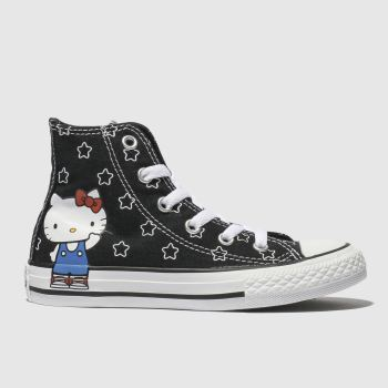CONVERSE BLACK & WHITE ALL STAR HELLO KITTY HI TRAINERS JUNIOR
