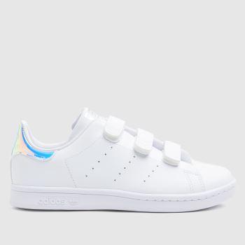 adidas White & Silver Stan Smith 3v Girls Junior