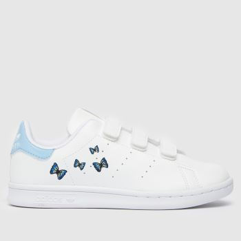 adidas White & Pl Blue Stan Smith Girls Junior