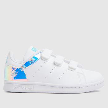 adidas White & Silver Stan Smith Girls Junior