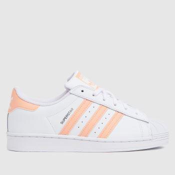 adidas White & Pink Superstar Girls Junior