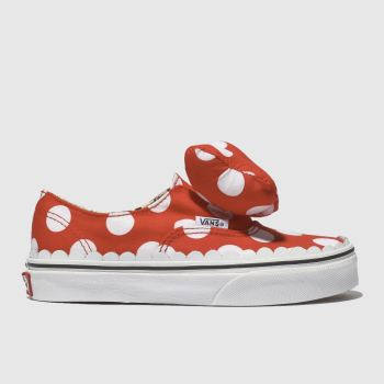 vans red authentic minnie bow trainers junior