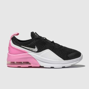 nike black & pink air max motion 2 trainers junior
