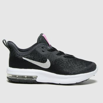 Nike Black & Silver Air Max Sequent 4 Girls Junior