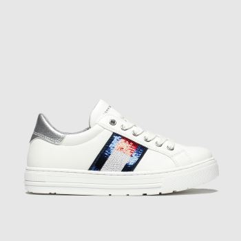 Tommy Hilfiger White & Silver Lace Up Sneaker Girls Junior