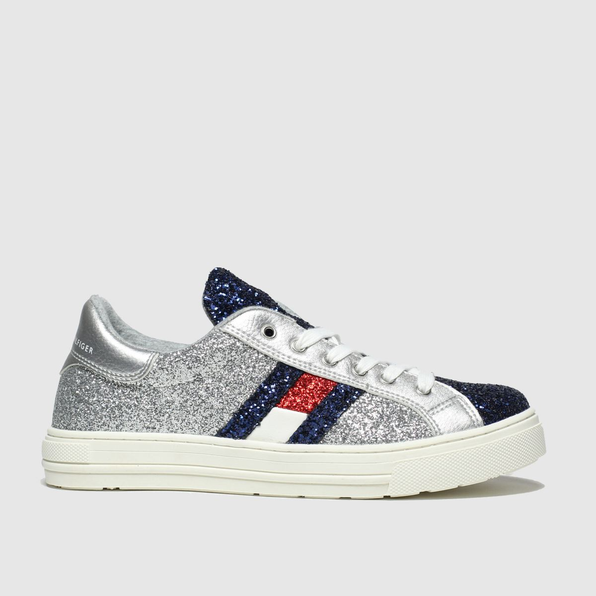Tommy Hilfiger Silver & Red Lace Up Sneaker Trainers Junior