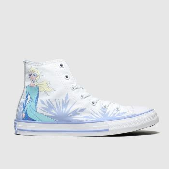 Converse White All Star Hi Ii Elsa X Frozen Girls Junior
