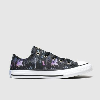 converse black & purple all star lo sisters x frozen trainers junior