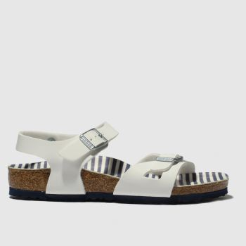 birkenstock white & blue rio sandals junior