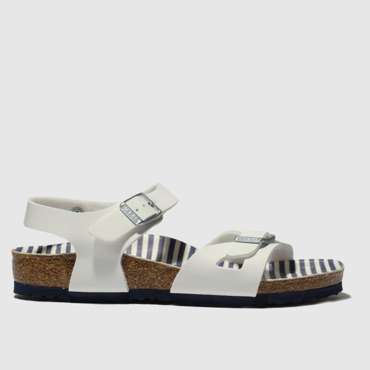 Birkenstock White & Blue Rio Sandals Junior