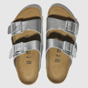 birkenstock silver arizona sandals junior