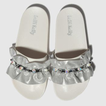 lelli kelly white & silver katia sandals junior