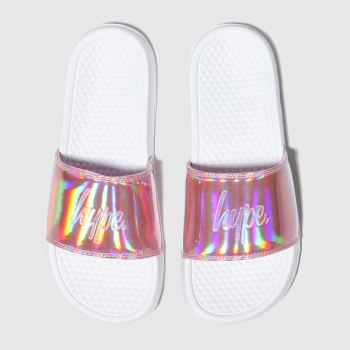 Hype White & Pink Holographic Sliders Girls Junior