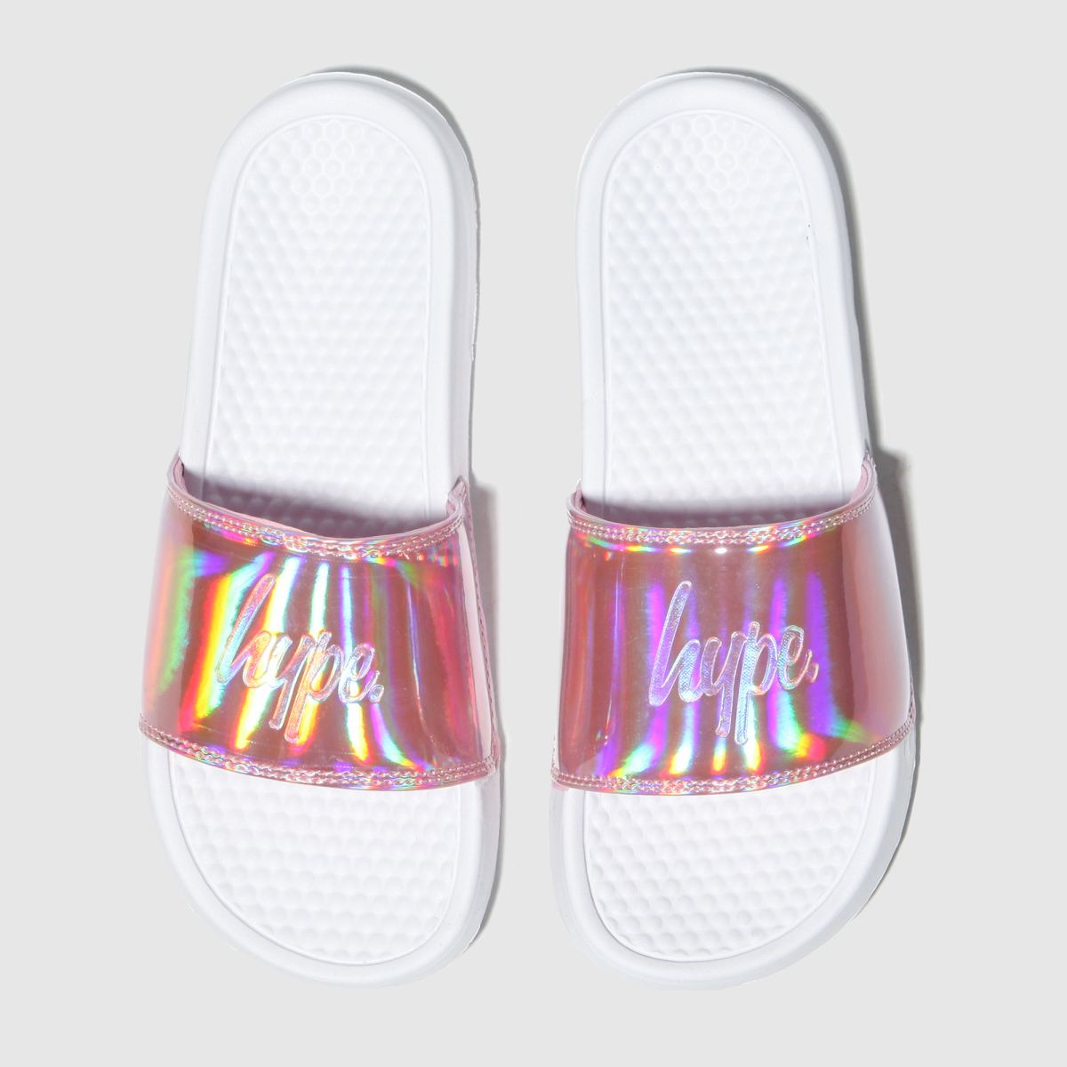 Hype White & Pink Holographic Sliders Sandals Junior